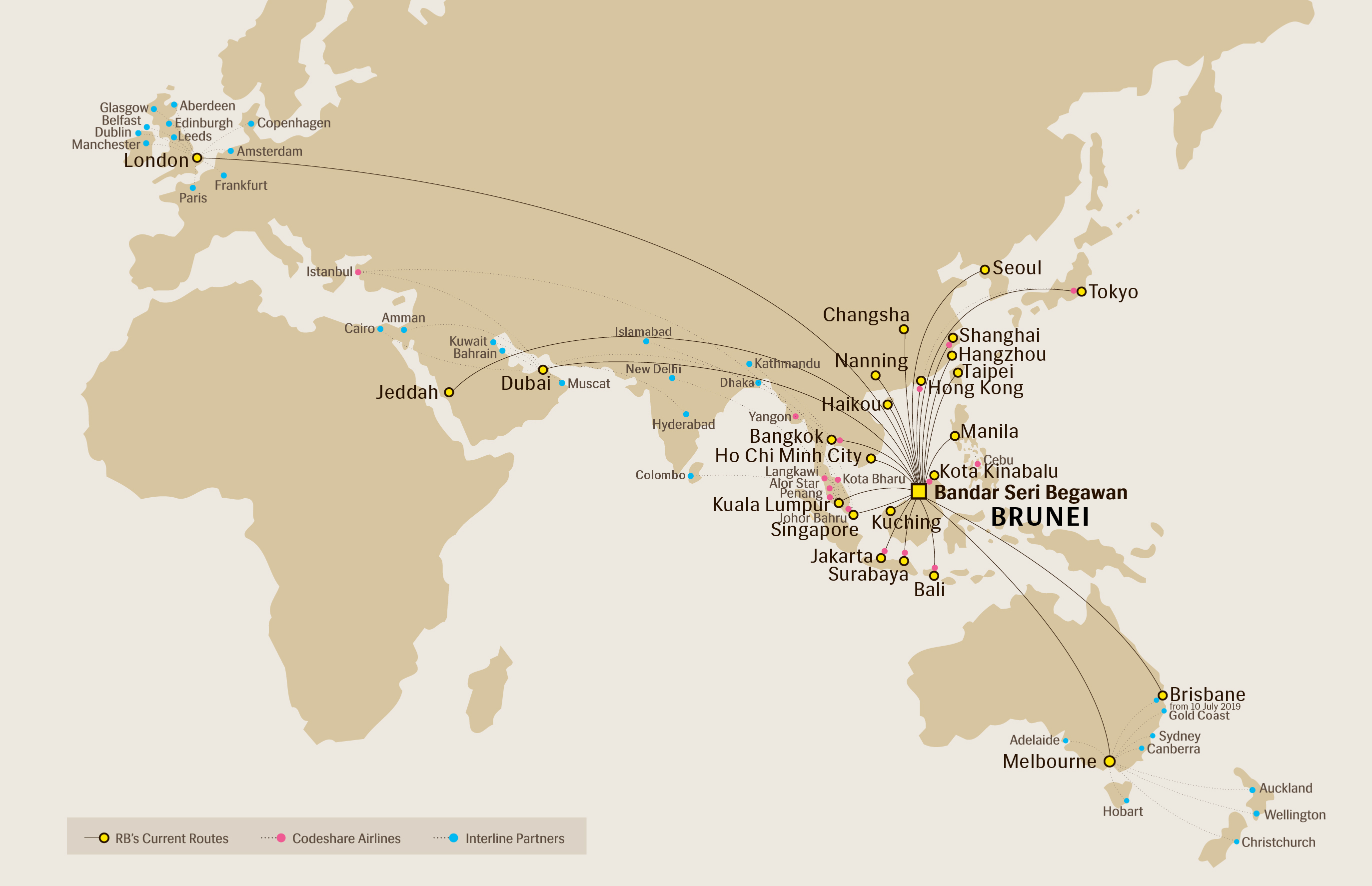 Route Map | Royal Brunei Airlines Destinations